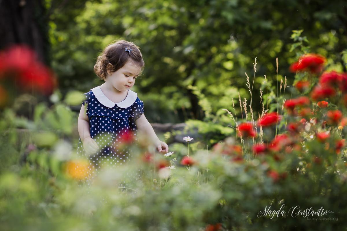 Sedinta foto de copii, fetita cu margareta si trandafiri, gradina botanica cu Lavinia - 13